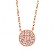 Madison E 0.15ct 14k Rose Gold Diamond Pave Circle Pendant