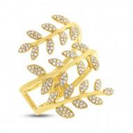Madison E 0.34ct 14k Yellow Gold Diamond Leaf Ring