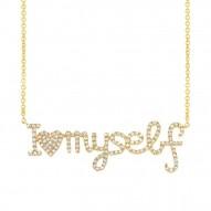 "Madison E 0.36ct 14k Yellow Gold Diamond ""I love myself"" Pendant"