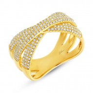 Madison E 0.60ct 14k Yellow Gold Diamond Pave Bridge Ring