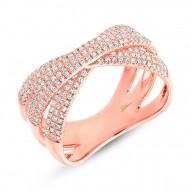 Madison E 0.60ct 14k Rose Gold Diamond Pave Bridge Ring