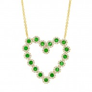Madison E 0.55ct Diamond & 0.79ct Green Garnet 14k Yellow Gold Heart Necklace