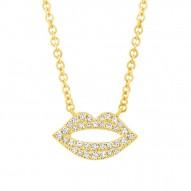 Madison E 0.08ct 14k Yellow Gold Diamond Pave Lips Pendant
