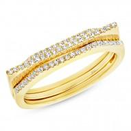 Madison E 0.22ct 14k Yellow Gold Diamond Puzzle Ring 2-pc