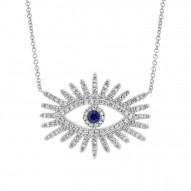 Madison E 0.30ct Diamond & 0.07ct Blue Sapphire 14k White Gold Eye Necklace