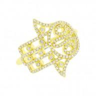 Madison E 0.35ct 14k Yellow Gold Diamond Hamsa Ring