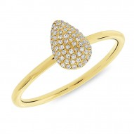 Madison E 0.13ct 14k Yellow Gold Diamond Pave Pear Ring