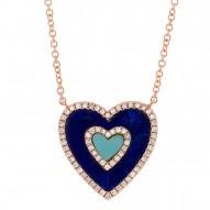 Madison E 0.17ct Diamond & 0.96ct Lapis & Composite Turquoise 14k Rose Gold Heart Pendant