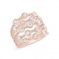Madison E 1.10ct 14k Rose Gold Diamond Rose Cut Ring