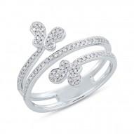 Madison E 0.25ct 14k White Gold Diamond Butterfly Ring