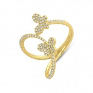 Madison E 0.26ct 14k Yellow Gold Diamond Butterfly Ring