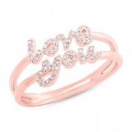"Madison E 0.11ct 14k Rose Gold Diamond ""Love You"" Ring Size 5"