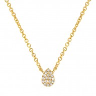 Madison E 0.05ct 14k Yellow Gold Diamond Pave Necklace