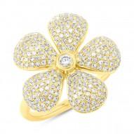 Madison E 0.65ct 14k Yellow Gold Diamond Pave Flower Ring