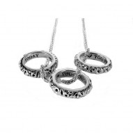 I Love You Today, Tomorrow, Forever 3 Piece Pendant Set Sterling Silver W/18Kt Plating Sterling Silver W/18Kg Plating 3 Pk Saph
