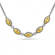 """Sterling Silver & 18Ky Firefly Necklace .135Ctw 16.5"""""""