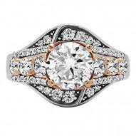 Round Cut Halo Diamond Vintage Engagement Ring
