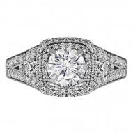 Cushion Cut Halo Diamond Vintage Engagement Ring