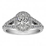 Oval Cut Split Shank Halo Diamond Engagement Ring