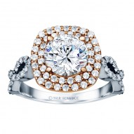 Round Cut Double Halo Diamond Infinity Engagement Ring