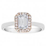 Emerald Cut Halo Diamond Engagement Ring