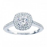 Rm1025-14k White Gold Round Cut Double Halo Diamond Engagement Ring