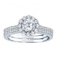 Rm1058-14k White Gold Round Cut Halo Diamond Engagement Ring