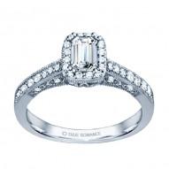 Rm1319e-14k White Gold Emerald Cut Halo Diamond Vintage Engagement Ring