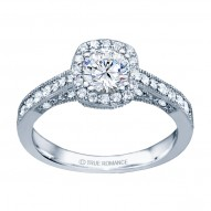 Rm1319r -14k White Gold Round Cut Halo Diamond Vintage Engagement Ring