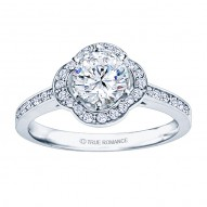 Rm1347-14k White Gold Round Cut Halo Diamond Engagement Ring