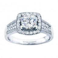 Rm1375-14k White Gold Halo Engagement Ring