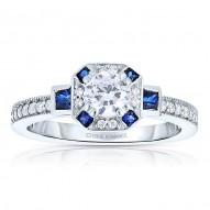 Rm1437rsap -14k White Gold Round Cut Halo Diamond Vintage Engagement Ring