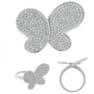 Madison E 0.80ct 14k White Gold Diamond Pave Butterfly Ring