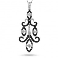 Madison E 0.80ct 14k White Gold Black & White Diamond Chandelier Pendant