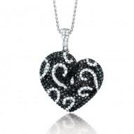 Madison E 2.50ct 14k White Gold Black & White Diamond Heart Pendant