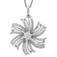 Madison E 1.50ct 14k White Gold Diamond Flower Pendant