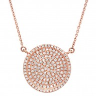 Madison E 0.47ct 14k Rose Gold Diamond Pave Circle Necklace
