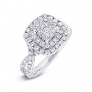 Madison E 1.37ct 14k White Gold Diamond Cluster Engagement Ring