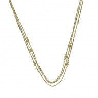 Madison E 0.05ct 14k Yellow Gold Diamond Bezel 3 Chain Necklace