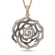 Madison E 0.30ct 14k Two-tone Black Rhodium Gold Diamond Flower Pendant