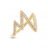 Madison E 0.28ct 14k Yellow Gold Diamond Heartbeat Ring