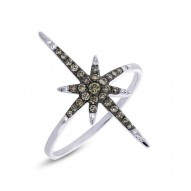 Madison E 0.24ct 14k White Gold White & Champagne Diamond North Star Ring