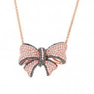 Madison E 1.69ct 14k Rose Gold Black & White Diamond Ribbon Bow Necklace