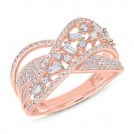 Madison E 0.70ct 14k Rose Gold Diamond Baguette Bridge Ring