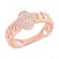 Madison E 0.14ct 14k Rose Gold Diamond Clover Link Ring