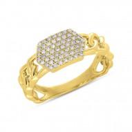 Madison E 0.22ct 14k Yellow Gold Diamond Pave ID Chain Ring