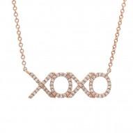 "Madison E 0.19ct 14k Rose Gold Diamond ""XOXO"" Pendant"