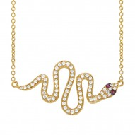 Madison E 0.31ct Diamond & 0.02ct Ruby 14k Yellow Gold Snake Necklace