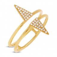 Madison E 0.11ct 14k Yellow Gold Diamond Pave Triangle Ring