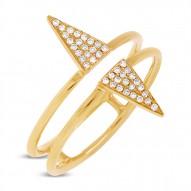 Madison E 0.11ct 14k Yellow Gold Diamond Pave Triangle Ring